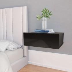 stradeXL Wisząca szafka nocna, czarna, wysoki połysk, 40x30x15 cm