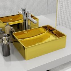 stradeXL Umywalka, 41x30x12 cm, ceramiczna, złota