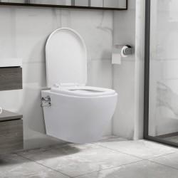 stradeXL Wisząca toaleta bez kołnierza z funkcją bidetu, ceramika, biała