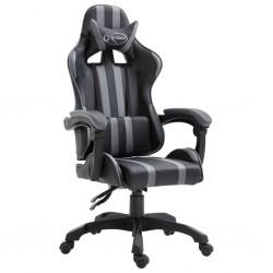 stradeXL Fotel dla gracza, szary, sztuczna skóra