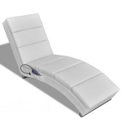 stradeXL Rozkładany fotel masujący, biały, sztuczna skóra