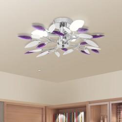 stradeXL Lampa sufitowa, 3 żarówki E14, fioletowa/biała
