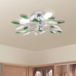 stradeXL Lampa sufitowa, 3 żarówki E14, zielono-biała