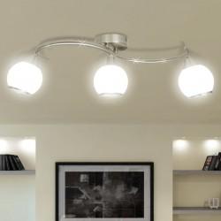 stradeXL Lampa sufitowa z 3 szklanymi kloszami na falistej rurce