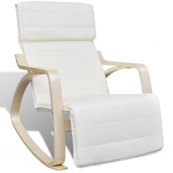 stradeXL Fotel bujany, kremowy, gięte drewno i tkanina