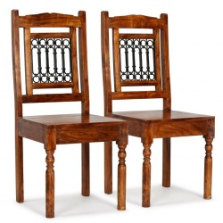 stradeXL Krzesła z litego drewna, stylizowane na sheesham, 2 szt.