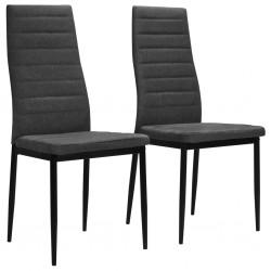 stradeXL Krzesła stołowe, 2 szt., ciemnoszare, tkanina