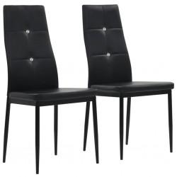 stradeXL Krzesła stołowe, 2 szt., czarne, sztuczna skóra