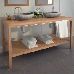 stradeXL Szafka łazienkowa z kamiennymi umywalkami, drewno tekowe
