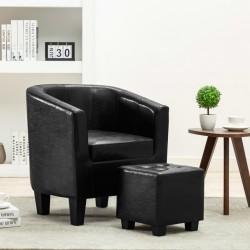 stradeXL Fotel z podnóżkiem, czarny, sztuczna skóra