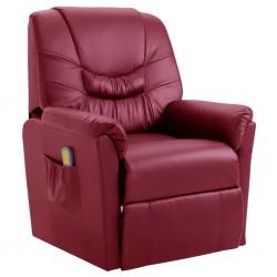stradeXL Rozkładany fotel masujący, czerwone wino, sztuczna skóra