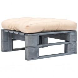 stradeXL Ogrodowe siedzisko z palet, piaskowa poduszka, szare drewno
