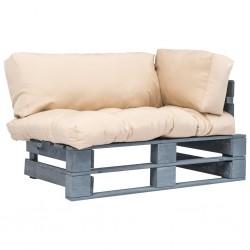 stradeXL Sofa ogrodowa z palet z piaskowymi poduszkami, drewno