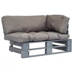 stradeXL Sofa ogrodowa z palet z szarymi poduszkami, drewno sosnowe