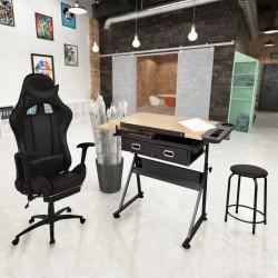 stradeXL Regulowany stół kreślarski i krzesło biurowe na kółkach