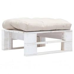 stradeXL Ogrodowy stołek z palet z piaskową poduszką, biały, drewno