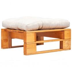 stradeXL Ogrodowy puf z palet, piaskowa poduszka, miodowy brąz, drewno