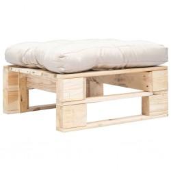 stradeXL Ogrodowy puf z palet, piaskowa poduszka, naturalne drewno