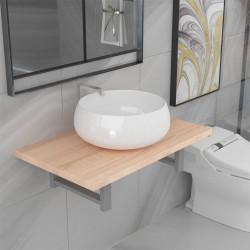stradeXL Dwuczęściowy zestaw mebli do łazienki, ceramiczny, dębowy