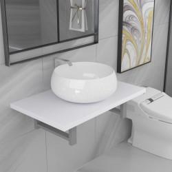 stradeXL Dwuczęściowy zestaw mebli do łazienki, ceramiczny, biały