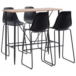 stradeXL 5-częściowy zestaw mebli barowych, plastik, czarny
