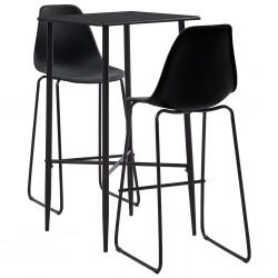 stradeXL 3-częściowy zestaw mebli barowych, plastik, czarny