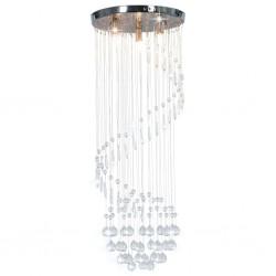 stradeXL Lampa sufitowa z kryształami i koralikami, srebrna, spirala, G9