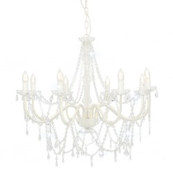 stradeXL Chandelier with Beads White 8 x E14 Bulbs