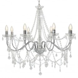 stradeXL Chandelier with Beads Silver 8 x E14 Bulbs