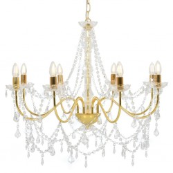 stradeXL Chandelier with Beads Golden 8 x E14 Bulbs