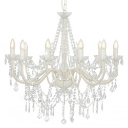 stradeXL Chandelier with Beads White 12 x E14 Bulbs