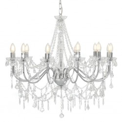 stradeXL Chandelier with Beads Silver 12 x E14 Bulbs