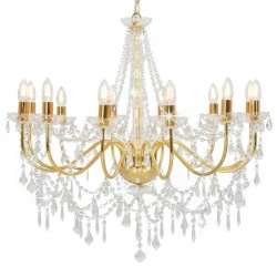 stradeXL Chandelier with Beads Golden 12 x E14 Bulbs