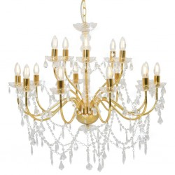 stradeXL Chandelier 2-layer Golden 15 x E14 Bulbs