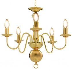 stradeXL Chandelier Golden 5 x E14 Bulbs