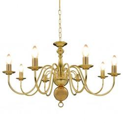 stradeXL Chandelier Golden 8 x E14 Bulbs