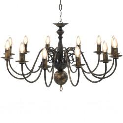stradeXL Chandelier Antique Black 12 x E14 Bulbs