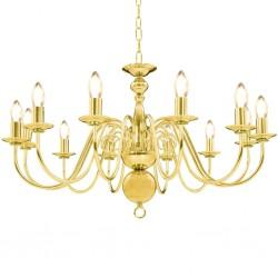 stradeXL Chandelier Golden 12 x E14 Bulbs