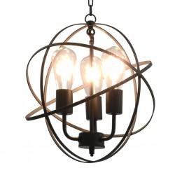 stradeXL Lampa wisząca, czarna, sferyczna, 3 żarówki E27