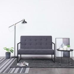 stradeXL 2-osobowa sofa z podłokietnikami, ciemnoszara, stal i tkanina