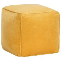 stradeXL Puf, aksamit bawełniany, 40 x 40 x 40 cm, żółty