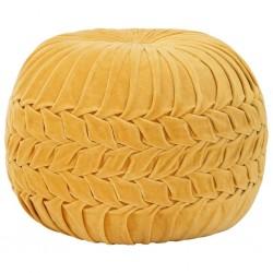 stradeXL Puf, aksamit bawełniany, marszczony, 40 x 30 cm, żółty
