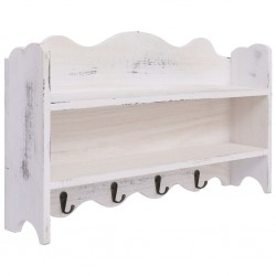 stradeXL Wall Mounted Coat Rack White 50x10x30 cm Wood