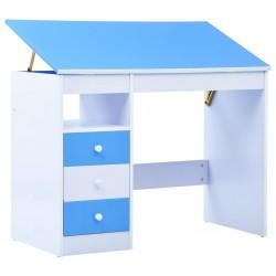 stradeXL Biurko dla dzieci z odchylanym blatem, niebiesko-białe