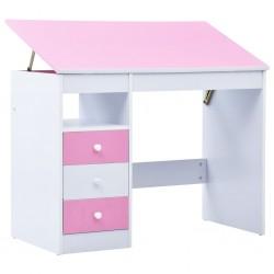 stradeXL Biurko dla dzieci z odchylanym blatem, różowo-białe