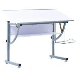 stradeXL Młodzieżowy stół kreślarski, biały, 110x60x87 cm, MDF