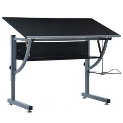 stradeXL Młodzieżowy stół kreślarski, czarny, 110x60x87 cm, MDF