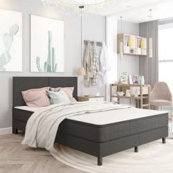 stradeXL Rama łóżka, szara, tapicerowana tkaniną, 140 x 200 cm