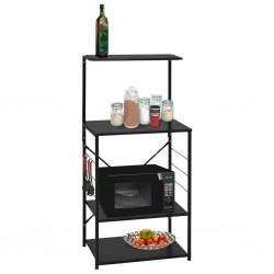 stradeXL Microwave Cabinet Black 60x39.6x123 cm Chipboard