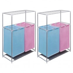 stradeXL 2-Section Laundry Sorter Hampers 2 pcs with a Top Shelf for Drying